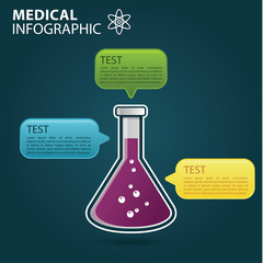 Medical info graphic, test tube experiment concept