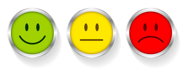 3 Smileys Green/Yellow/Red Silver