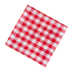 Сheckered linen napkin isolated on white
