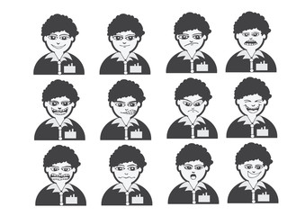 Cartoon faces Set drawing illustration
