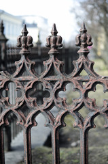 close-up of an old cast iron fence