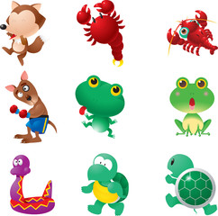 Funny amphibians animals set