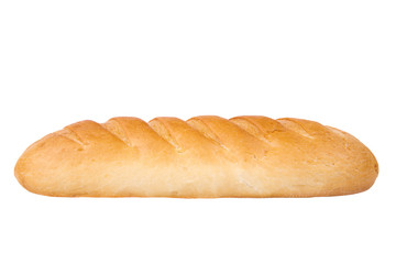 Loaf of bread on white background