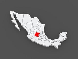 Map of Guanajuato. Mexico.