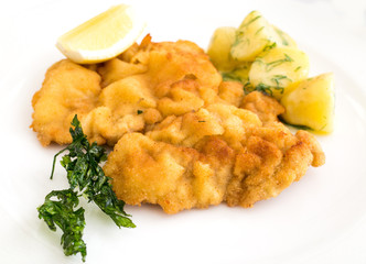 veal cutlet and lemon, austrian cuisine