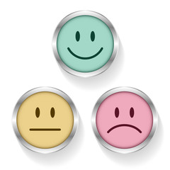 Smileys Faces Emotion Retro Silver