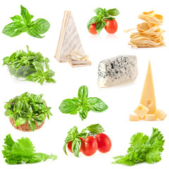 Collections of Fresh herbs, tomatoes, varied cheese and pasta