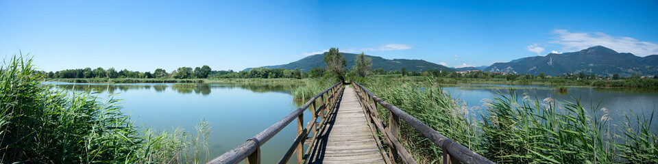 panoramic view of Sebino peat bog, Brescia, Italy