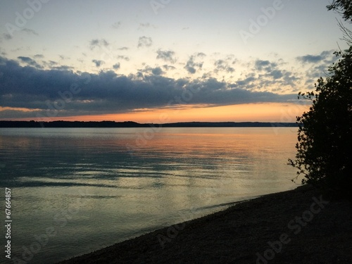canvas print picture Abendrot am See