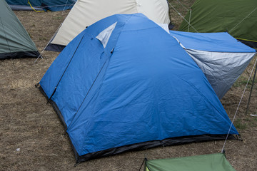 Blue tent in campsite of the  Exit music festival in Serbia