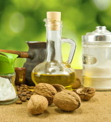 image of nuts, butter, salt shaker, coffee beans, a cup