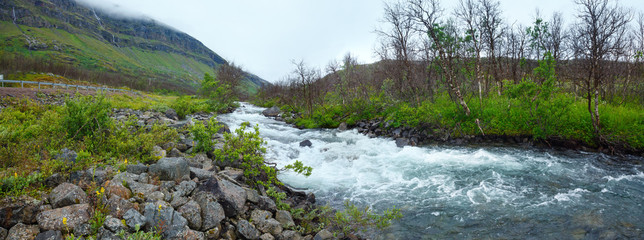 Summer river panorama (Norway).