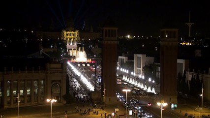 Barcelona. View of Plaza of Spain at night.