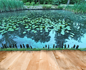 Pond in park with wooden oak floor