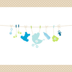 Baby Boy Hanging Symbols Dots Border