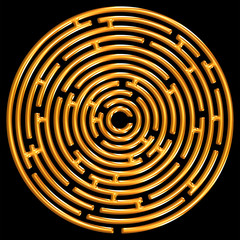 Golden maze on black
