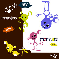 Monsters cute funny aliens characters