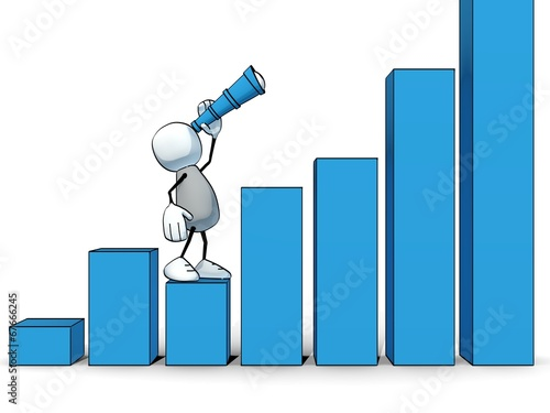 canvas print picture little sketchy man with spyglass looking up a positive bar chart