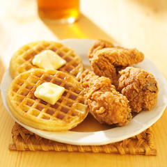 fried chicken and waffles meal
