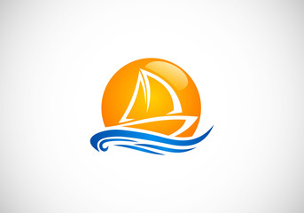 sailing boat beach vector logo