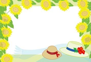 麦わら帽子とひまわりの夏のフレーム