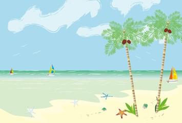 ヤシの木のある南の国のビーチの風景