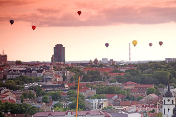 The main view of Vilnius Old town from its hills with air balloo