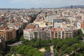 Aerial view Barcelona, Spain
