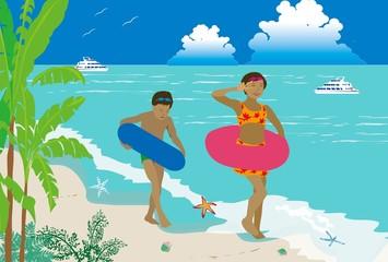 南の島の海水浴を楽しむ子供達