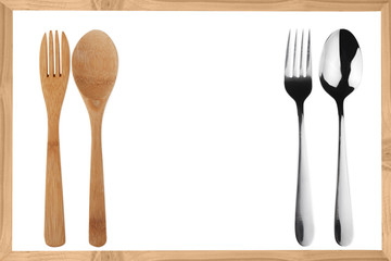 wooden and metal fork, spoon