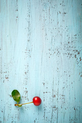 Red cherry on an old wooden board, copy space composition