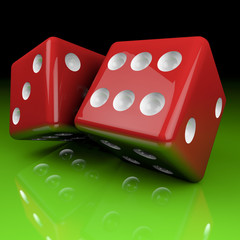 red cubes on green background