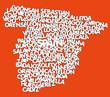 Obrazy na płótnie, fototapety, zdjęcia, fotoobrazy drukowane : Spain map and words cloud with larger cities