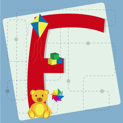 "Letter ""f"" from stylized alphabet with children's toys"