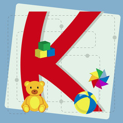 "Letter ""k"" from stylized alphabet with children's toys"