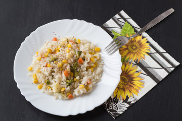 Rice with Vegetables on a White Plate