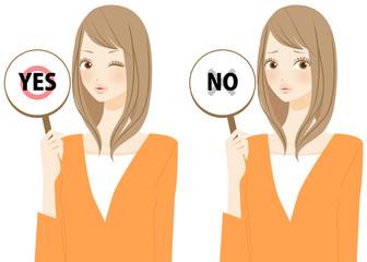 YESとNOを表示する女性