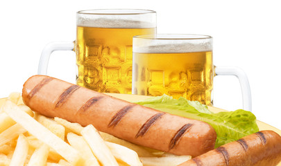 glasses of beer with frankfurter