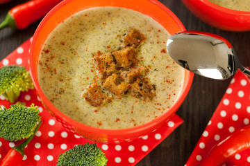 Bowl of chili pepper and broccoli soup