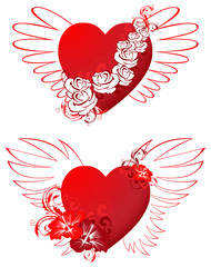 red hearts with floral ornament and wings