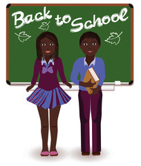 Back to School. Little schoolkids, vector