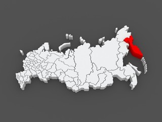 Map of the Russian Federation. Kamchatka Krai.