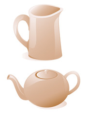 Teapot and milk jug