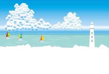 灯台とヨットの見える夏の海のポストカード