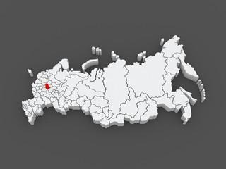 Map of the Russian Federation. Vladimir region.