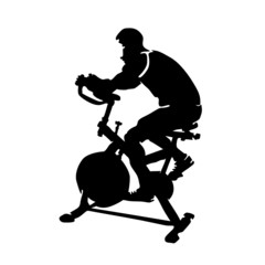 man exercising on gym bicycle vector silhouette