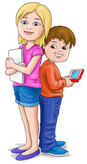Girl and Boy with ipad etc
