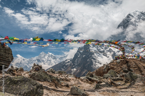 Fotobehang Nepal Prayer Flags in Himalayas Nepal