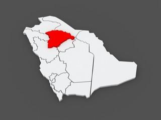 Map of Hail. Saudi Arabia.
