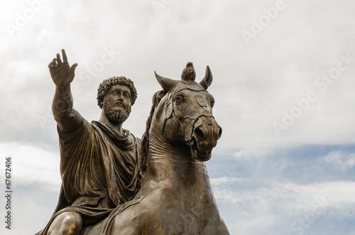 Leinwanddruck Bild statue of Marcus Aurelius, Campidoglio, Rome, Italy